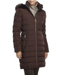 Ivanka Trump - Brown Faux Fur Trim Down Coat - Lyst