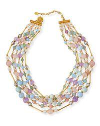 Jose & Maria Barrera Multicolor Multi-Strand Pastel Beaded Necklace