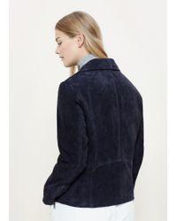 Violeta by Mango | Blue Suede Biker Jacket | Lyst
