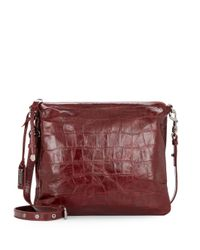 Badgley Mischka | Purple Coralie Embossed Leather Convertible Clutch | Lyst