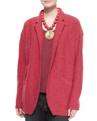 Eileen Fisher - Red Lightweight Boiled Wool Jacket - Lyst