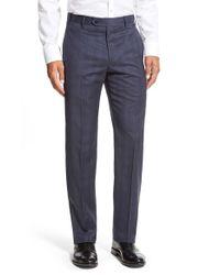Zanella - Gray 'devon' Flat Front Plaid Wool Trousers for Men - Lyst