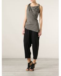 Rick Owens Lilies - Gray Jersey Front Drape Top - Lyst