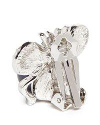 Kenneth Jay Lane Metallic Crystal Pavé Ribbon Pearl Earrings