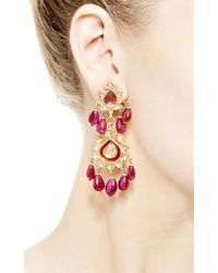 Kirat Young - Red Indian Earrings in Gold - Lyst