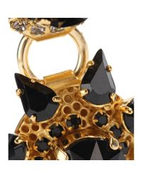 Erdem Metallic Gold-Plated Clip-On Earrings With Crystal Embellishment