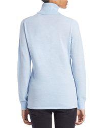Lord & Taylor Blue Fine Merino Wool Turtleneck Sweater