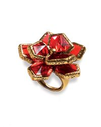 Oscar de la Renta | Red Wildflower Cocktail Ring | Lyst