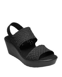 Steven by Steve Madden | Black Brookln Stretch Fabric Wedge Sandals | Lyst