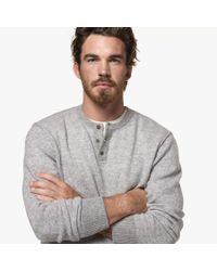 James Perse - Gray Cashmere Colorblocked Henley for Men - Lyst