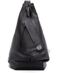 Loewe Black Leather Crossbody Backpack for men