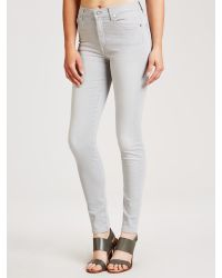 7 For All Mankind Gray Skinny Slim High Waist Illusion Jeans