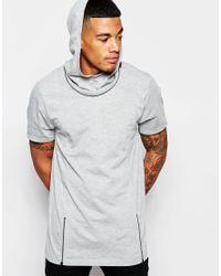ASOS Gray Longline T-shirt With Zip Off Hood for men