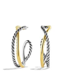 David Yurman Metallic Crossover Hoop Earrings With Gold