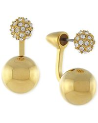 Vince Camuto | Metallic Gold-tone Pave Double Sphere Ear Jackets | Lyst