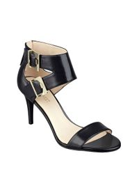 Nine West | Black Intwyne Leather Sandal Heels | Lyst