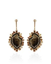 Kimberly Mcdonald | One Of A Kind Dark Green Geode Natural Brown and Green Diamond Lever Back Earrings | Lyst