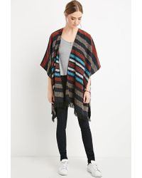 Forever 21 - Multicolor Striped Open-front Poncho - Lyst