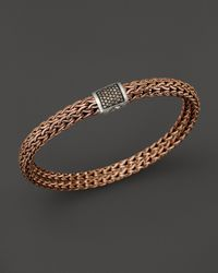 John Hardy | Men'S Classic Chain Sterling Silver And Bronze Medium Chain Bracelet With Brown Pavé Diamonds for Men | Lyst