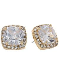 Betsey Johnson | Metallic Cz Crystal Halo Large Square Stud Earrings | Lyst