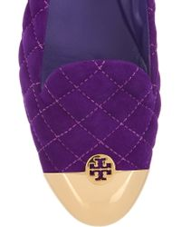Tory Burch Purple Kaitlin Quilted Suede Slippers