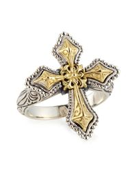 Konstantino - Metallic Engraved Sterling Silver & Gold Cross Ring - Lyst