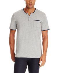 BOSS - Gray 'jersey Shirt Bp Ss' | Cotton Blend Split Neck Polo for Men - Lyst