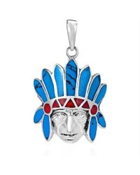 Aeravida | Blue American Indian Chief Head Turquoise-coral Inlay .925 Silver Pendant | Lyst