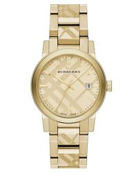 Burberry - Metallic Check Stamped Bracelet Watch - Lyst