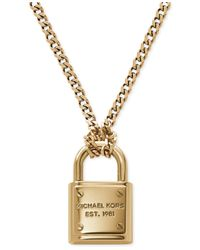 Michael Kors | Metallic Goldtone Logo Padlock Pendant Necklace | Lyst