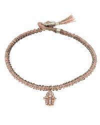 Brooke Gregson Pink Silk Pave Diamond Hamsa Crochet Bracelet