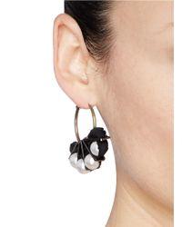 Lanvin - Multicolor Glass Pearl Taffeta Hoop Earrings - Lyst