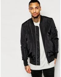 ASOS | Bomber Jacket With Ma1 Pocket In Black for Men | Lyst