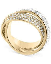 Michael Kors - Metallic Gold-Tone Pave And Baguette Criss-Cross Band Ring - Lyst
