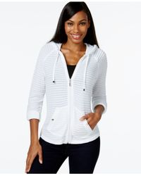 Style & Co. | White Petite Illusion-striped Hoodie, Only At Macy's | Lyst