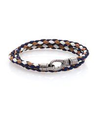 Tod's | Blue Tri-tone Leather Double-wrap Bracelet | Lyst