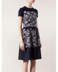 Carolina Herrera Blue Floral Embroidered Dress