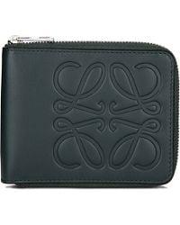 Loewe Calf-leather Bi-fold Wallet, Women's, Dark Green
