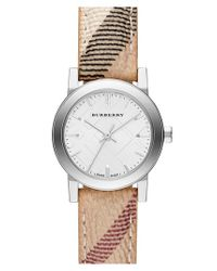 Burberry - Metallic Small Check Strap Watch - Lyst
