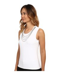 Calvin Klein | Metallic Sleeveless Top W/ Chain Necklace | Lyst