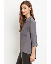 Forever 21 - Gray Zip-front Pocket Shirt - Lyst