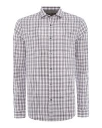 Michael Kors | Purple Slim Fit Long Sleeve Check Shirt for Men | Lyst