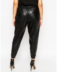 Asos Curve | Black Jogger In Leather Look | Lyst
