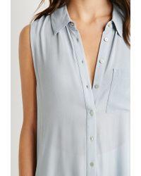 Forever 21 Blue High-slit Shirt Dress