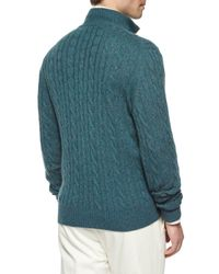 Loro Piana Blue Mezzocollo Cable-knit Cashmere Pullover for men