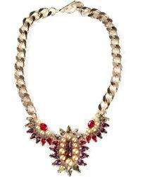 Anton Heunis - Metallic Teardrop Crystal Cluster Bib Necklace - Lyst