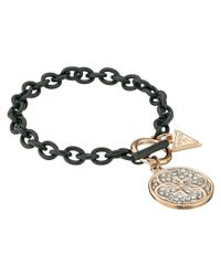 Guess | Metallic Link Chain Toggle Bracelet With Stone Disc Drop | Lyst
