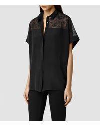 AllSaints | Black Lilja Shirt | Lyst