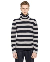 Antonio Marras Black Striped Wool Turtleneck Sweater for men