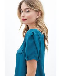 Forever 21 - Blue Contemporary Sheer Woven Blouse - Lyst